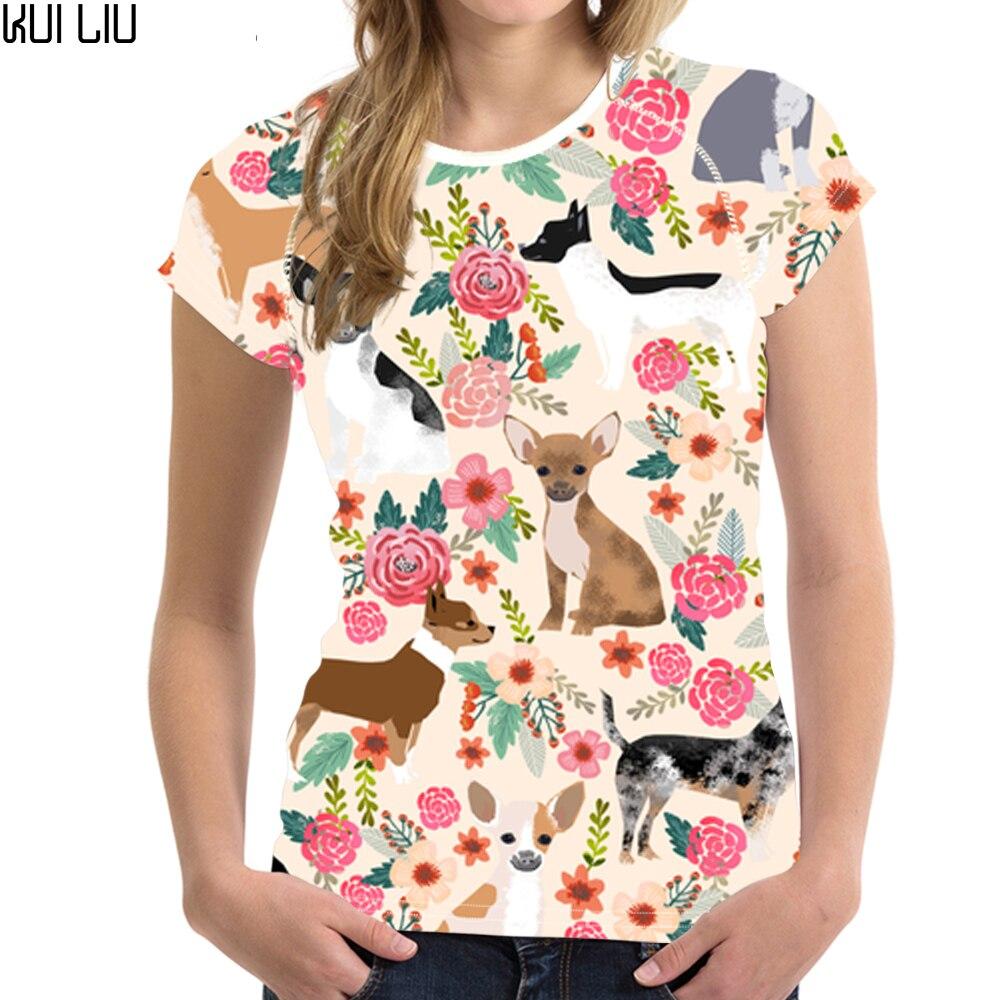 Customized Chihuahua Flowers Printing Women T Shirt Ladies ...