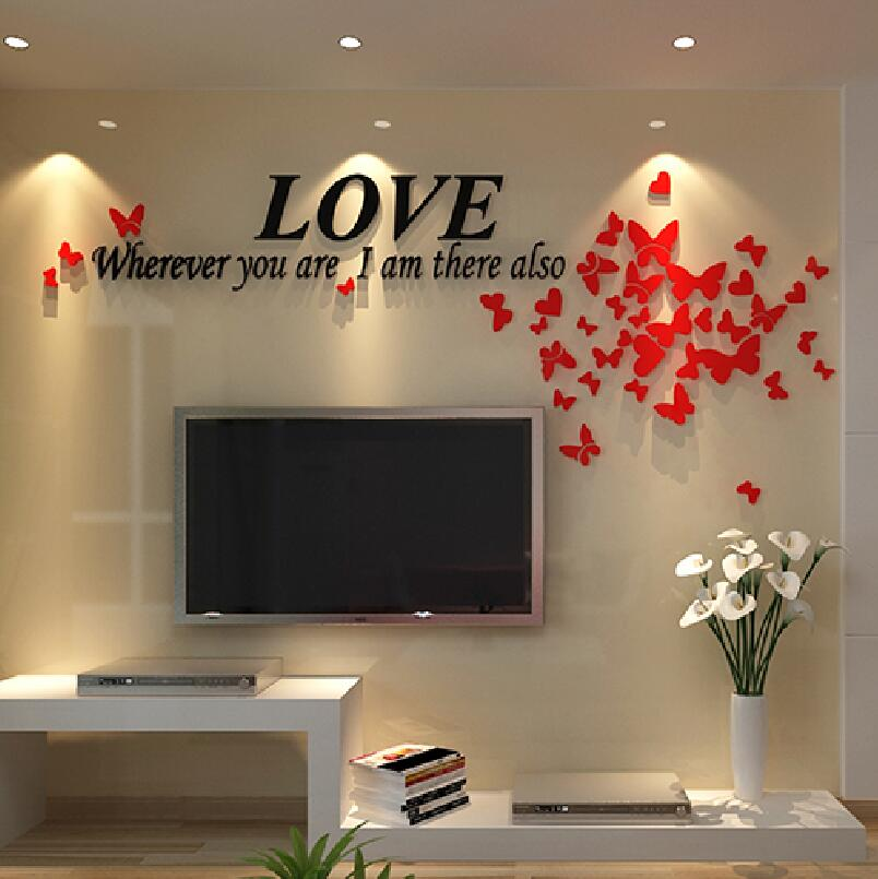 Láska motýl 3D stereo nástěnné nálepky obývací pokoj pohovka TV nástěnné nálepky romantický svatební pokoj rozložení noční dekorace