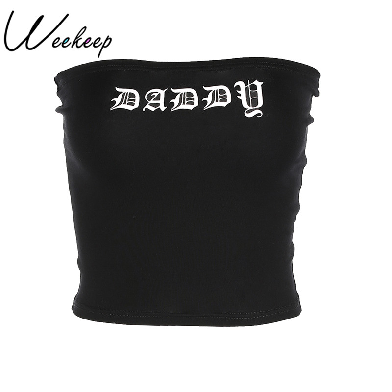 Weekeep Women Sexy Black Tube Top Daddy Letter Print Cropped Bandeau Summer Streetwear Cotton Boob Tube Off Shoulder Crop Top