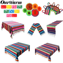 OurWarm Mexican Party Supplies Serape Cotton Tablecloth Table Runner Felt Banner Paper Fan for Wedding Birthday Decoration