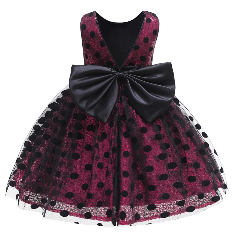Girls Sequin Dress 2019 Fashion Kids Clothes Children Wedding Party Princess Dresses For Baby Girl Dot Bow Backless Tulle Dress (4)