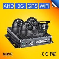 CCTV Surveillance 3G GPS Wifi 4CH AHD Mobile Dvr Kits 720P SD Card Real Time Remote Monitoring +4Pcs IR Camera