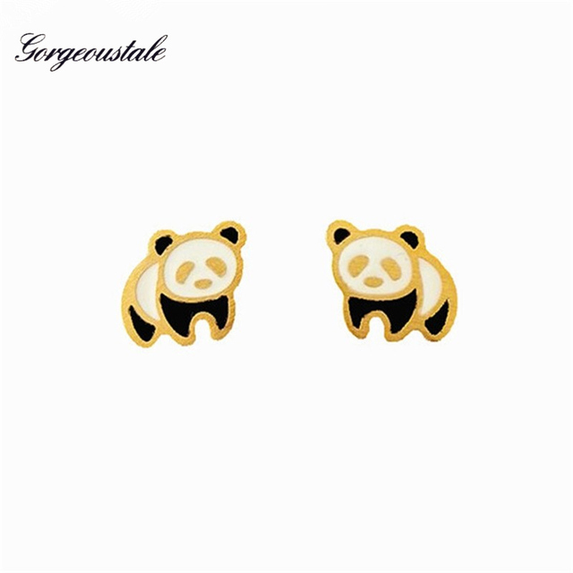 Gold Color Panda Bear Earrings Women Fashion Jewelry Boucles D Oreille Femme Stainless Steel Stud