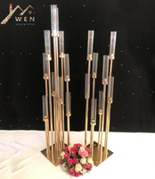 10 Heads Metal Candlestick Candelabra Candle Holders Stands Wedding Table Centerpieces Flower Vases Road Lead Party Decoration