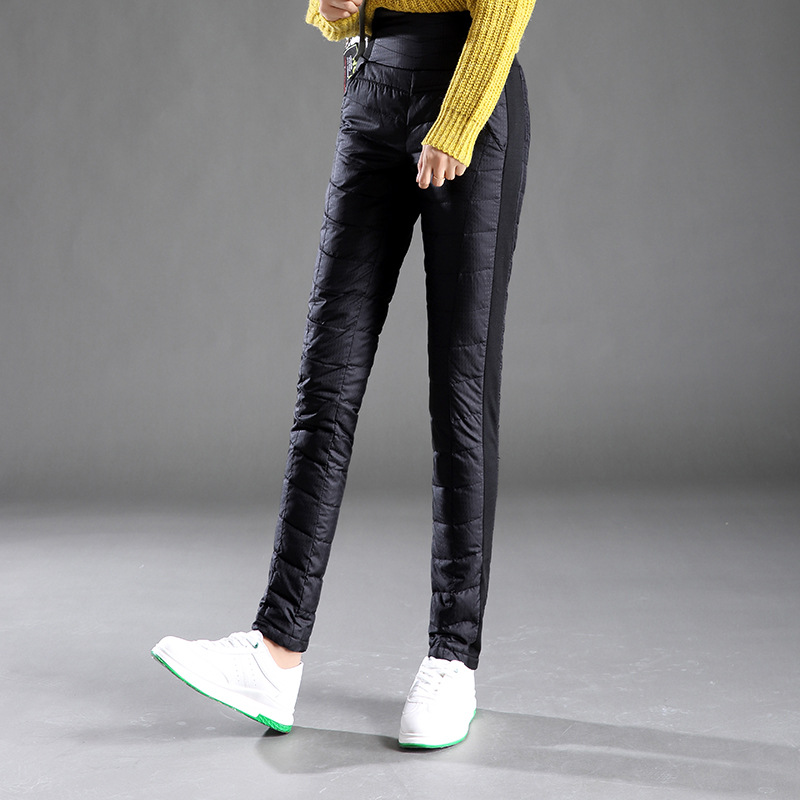 Winter women's down pants outdoor womens White duck down trousers High waist slim Thick Solid color waterproof warm pants 4XL