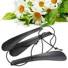 1 шт. 19 см Профессиональный Гибкий прочный скольжения черный сплав обуви рог в форме ложки Shoehorn Обуви Подъемник