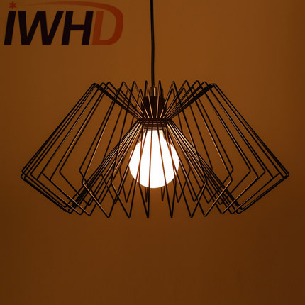 IWHD Edison Loft Style Iron Droplight Industrial Vintage Pendant Lamp Fixtures For Dining Room Hanging Light Home Lighting iwhd gold iron style loft industrial vintage pendant lights retro birdcage hanging lamp kitchen dining room luminaire suspendu