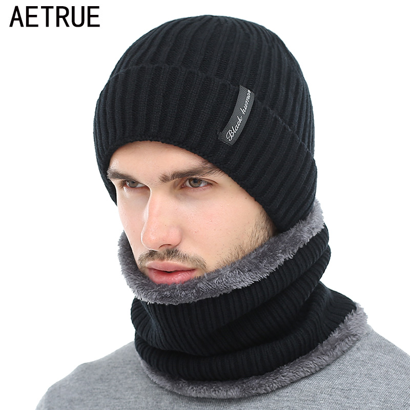 AETRUE Scarf Knitted Caps Mask Gorras Bonnet Warm Baggy Skullies Beanies
