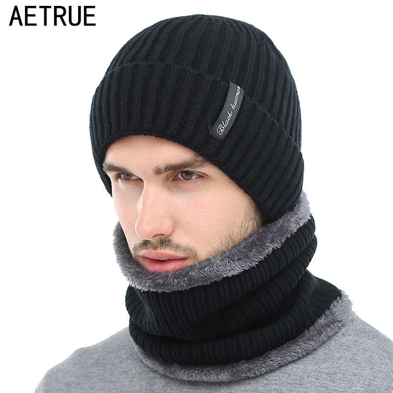 bd7e6d2f2d726 AETRUE Winter Beanies Men Scarf Knitted Hat Caps Mask Gorras Bonnet Warm  Baggy Winter Hats For