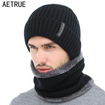 a4c21ea3 AETRUE Winter Beanies Men Scarf Knitted Hat Caps Mask Gorras Bonnet Warm  Baggy Winter Hats For