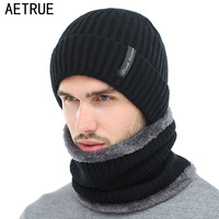 AETRUE Winter Beanies Men Scarf Knitted Hat Caps Mask Gorras Bonnet Warm Baggy Winter Hats For