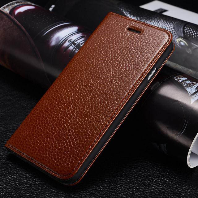 Genuine Leather Case for iPhone 5 5S Concise Case Real Cowhide Flip Cover for Apple iPhone