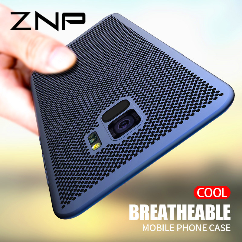 ZNP Ultra Slim Grid Heat Dissipate Phone Case For Samsung Galaxy S9 S8 Plus Note 9 8 Back Cover Case For Samsung S7 S6 Edge Case-in Fitted Cases from Cellphones & Telecommunications
