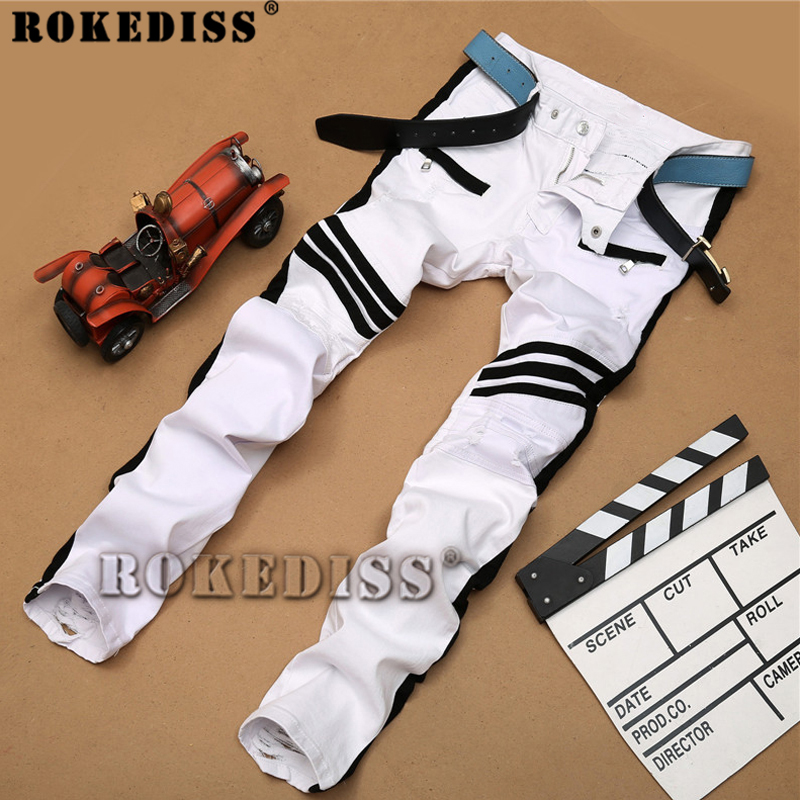 High Quality Patchowrk Jeans Men 2017 Designer Skinny White Pants Elastic Denim Overall Slim Fit Casual Mens Clothing C108