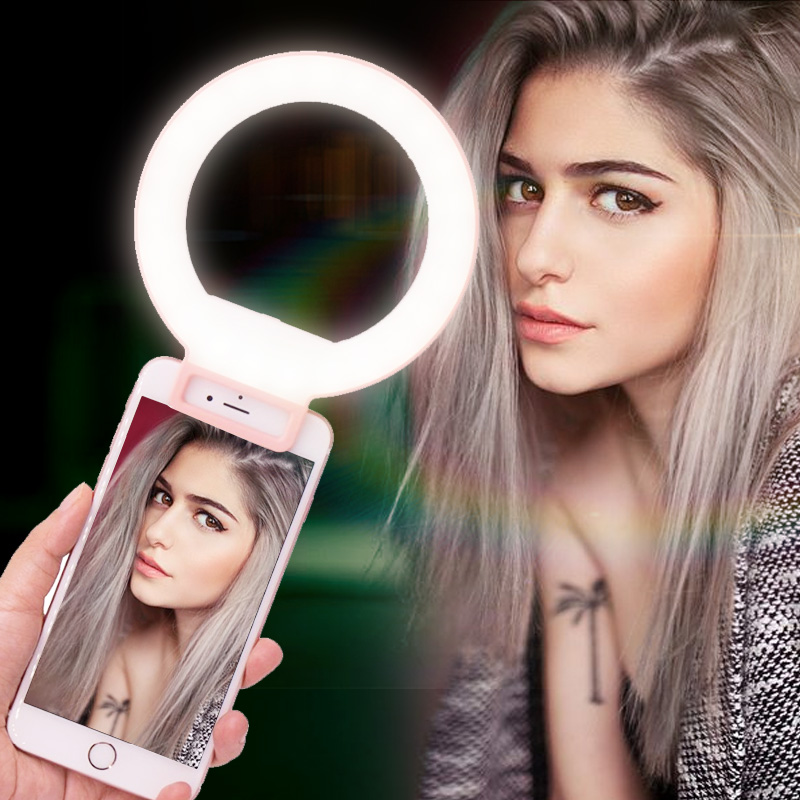 Ulanzi ISF LED Selfie Ring Licht Ergänzung Helligkeit Foto Licht Clip-auf Make-Up Schönheit Video Lampe für iPhone Samsung s8 S7