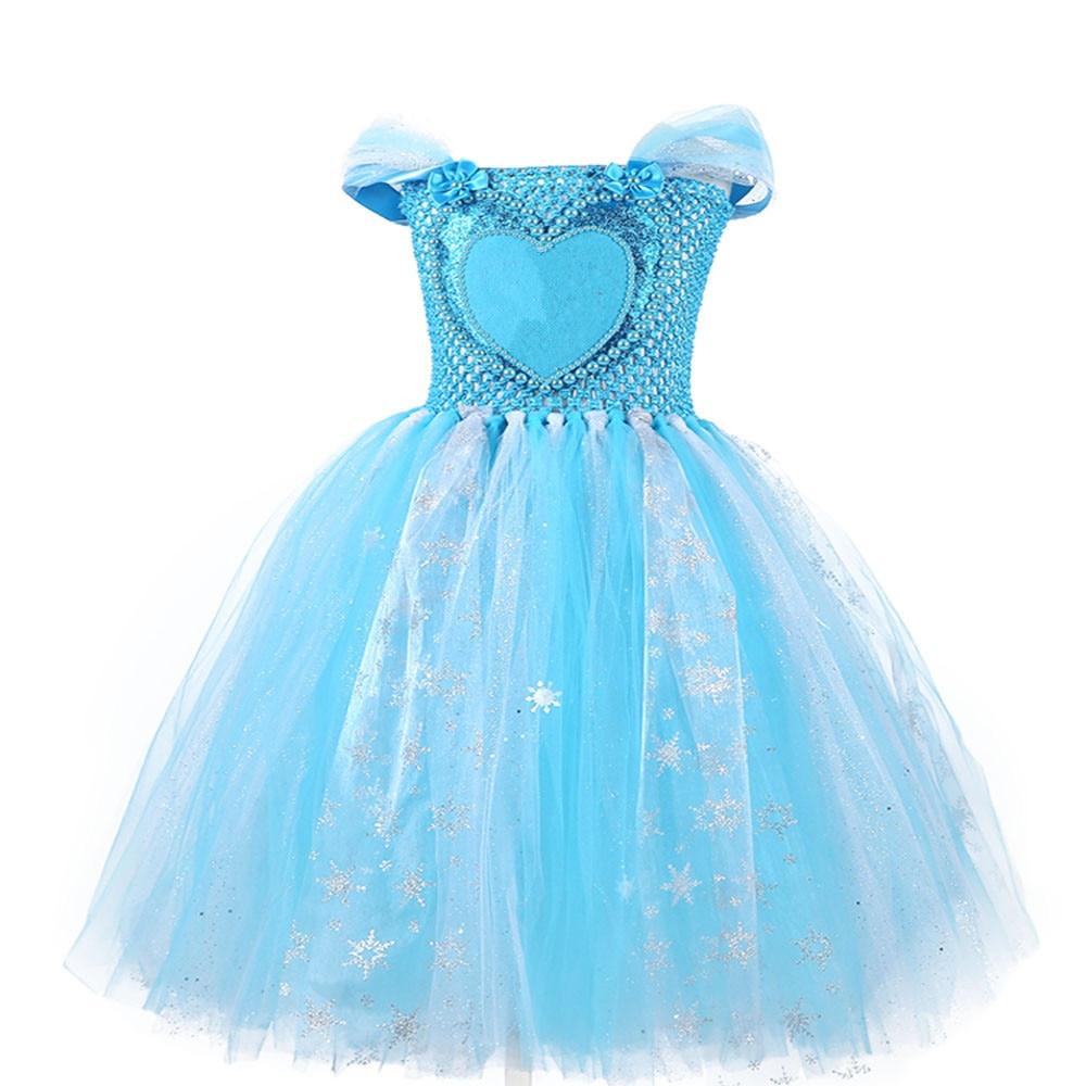 Princess Froze Elsa Anna Dress for Girls Snow White Diamond Tutu Dress Baby Girls Blue Summer Dress Kids Birthday Party Costumes