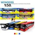 1:50 de aleación modelo de autobús de metal funde automóviles de juguete tire hacia atrás de moviles y musical, alta simulación bus turístico Excelentes Regalos