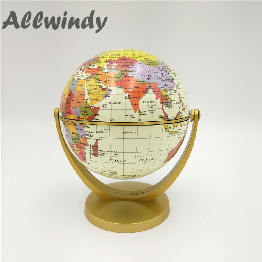 Plastic Terrestrial Globe World Globe Fashion Home Decoration Gift For Kids Study Room Craft Ornaments 10.6CM Free Shipping 1Pcs