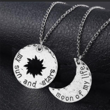 лучшая цена A Pair Game Of Thrones Couple Necklace Pendant Moon Of My Life My Sun And Stars Symbol Choker Women Men Cosplay Jewelry