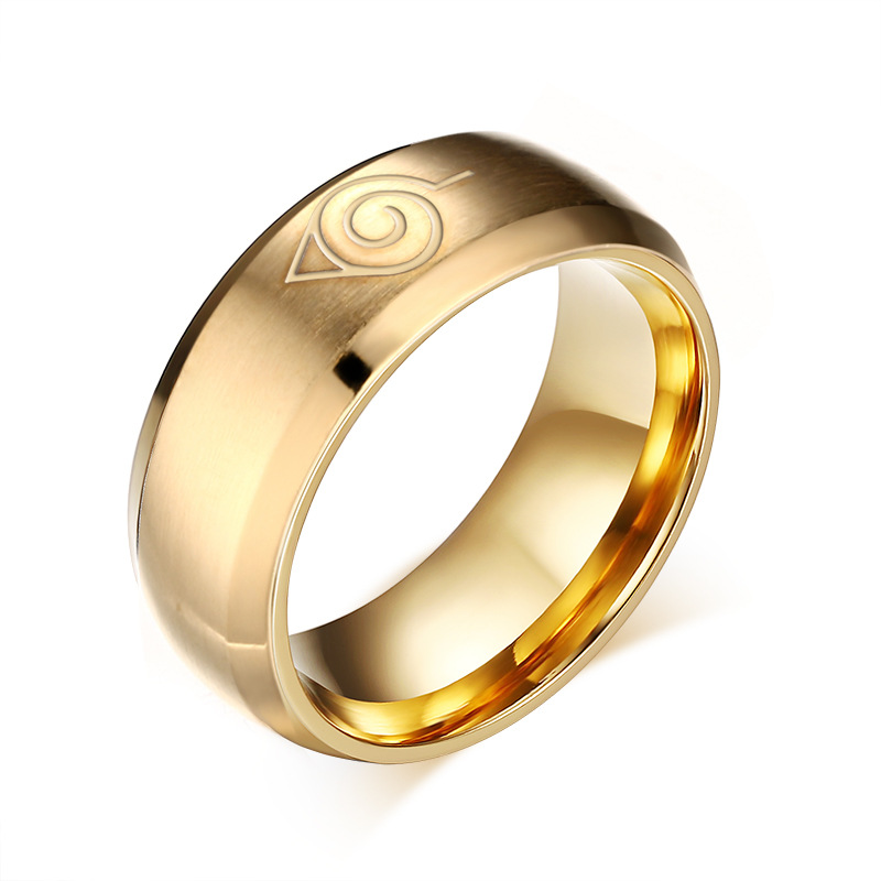 Anime Naruto Ring Fine Jewelry 8mm Black Gold Cool Men Jewelry