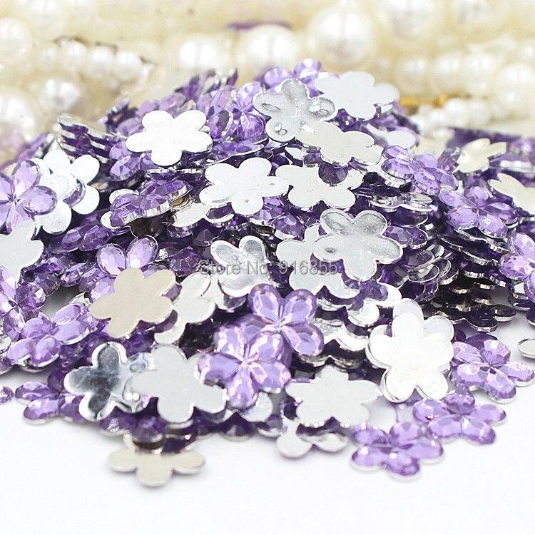 Бесплатная Доставка Мода 200 шт./пакет 10 мм светло-фиолетовый сливы Alower Дизайн Акриловые горный хрусталь плоской задней