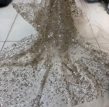 5yards glitter glued sparkle tulle mesh lace fabric ZH-7244 unique for fashion show