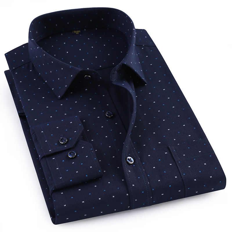 2019 新ファッションプリントスマートカジュアル男性シャツ長袖高品質のワイン赤ダークブルー非鉄ブランド男性ドレスシャツ