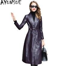 AYUNSUE Genuine Leather Jacket Women Real Sheepskin Coat Female Long Autumn Women's Windbreaker Trench jaqueta feminina WYQ1688