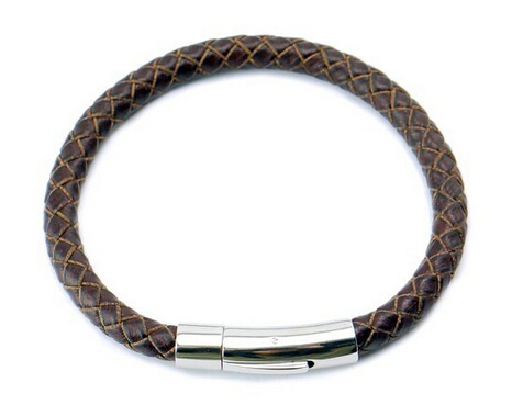 Genuine leather mens bracelet bangle braided cord with for Stainless steel jewelry durability