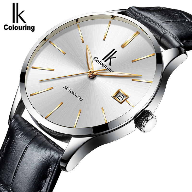 IK COLOURING Calendar Display Business Men Self-Wind Watch Simple Nail Scale Fashion Mechanical Wristwatch ik colouring brand mechanical hand wind clock nail scale hollow back cover luminous hardlex full steel business men s watch