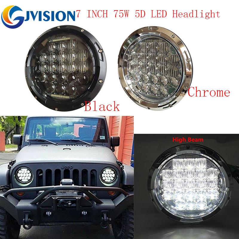2017 Newest 7 inch Round led headlight 7'' 75W 5D Hi/Lo Beam LED Headlamp with White DRL Daymaker for Jeep Wrangler JK Lada Niva 2pcs new design 7inch 78w hi lo beam headlamp 7 led headlight for wrangler round 78w led headlights with drl