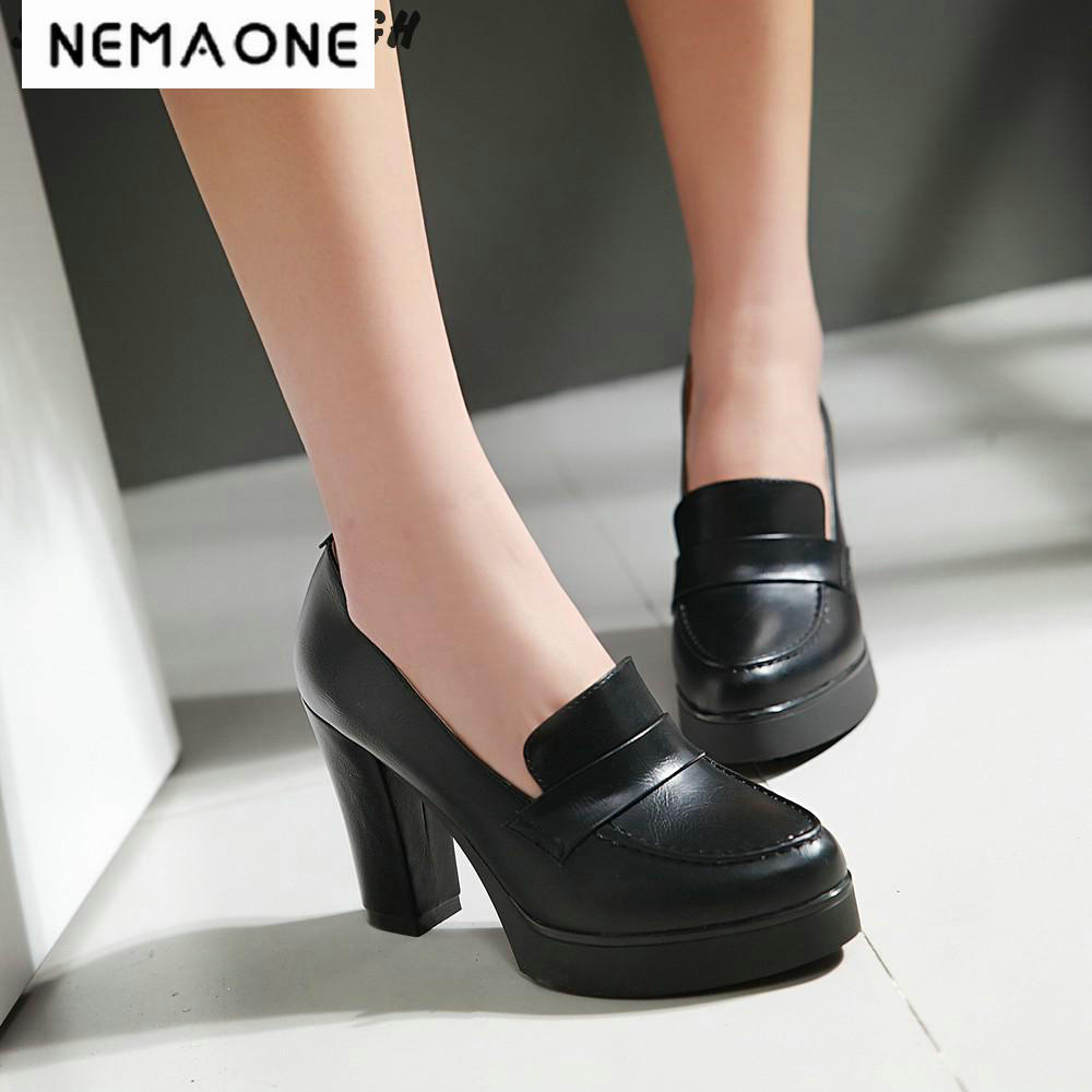 New Spring And Autumn Thick High Heeled Pumps Round Toe Lacing Female Platform Shoes Casual Office Lady Shoes Square Heels lace up women shoes pumps new spring autumn round toe female casual high heels casual shoes platform woman size 43
