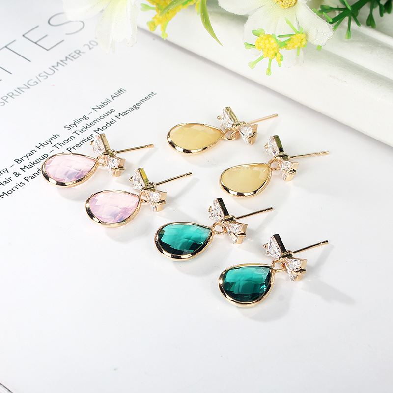 12 pair Korean fashion bow tie Zircon Earrings crystal long   lovely and simple Earrings colorful jewel Earrings