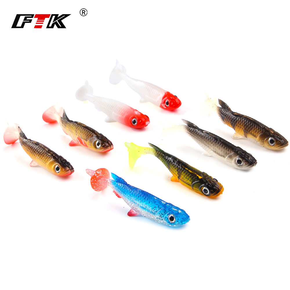 5Pcs/lot 3D Eyes Fishing Lure Soft Bait 60mm 5.5g Carp Soft Fishing Lures Wobbler Artificial Plastic Swimbait Bait Fish Lures