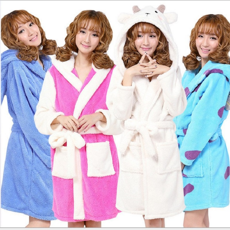 Cute Zoomorphism Robes Long Sleeve Hooded Bathrobe Robe