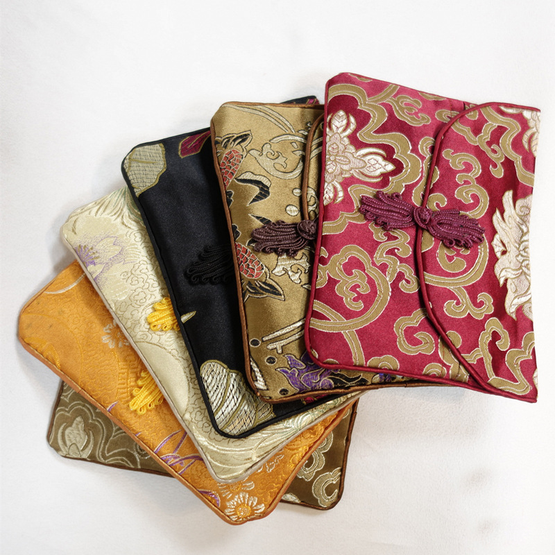 Chinese storage bag fabric buckle envelope package brocade silk satin simulation silk hand mother and child packaging in Storage Bags from Home Garden