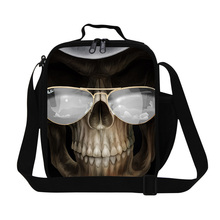 Dispalang 3D Cool Skull Print Lunch Bags For Kids Insulated Cooler Bags Children Picnic LunchBags Food Lunchbox Bento