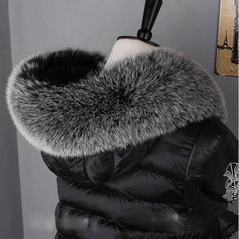 Winter Real Fox Fur Hood Trim Women For 2019 Fashion Elegant Luxury Genuine Fur Scarf Woman Winter Warm Black Scarves Fur Collar