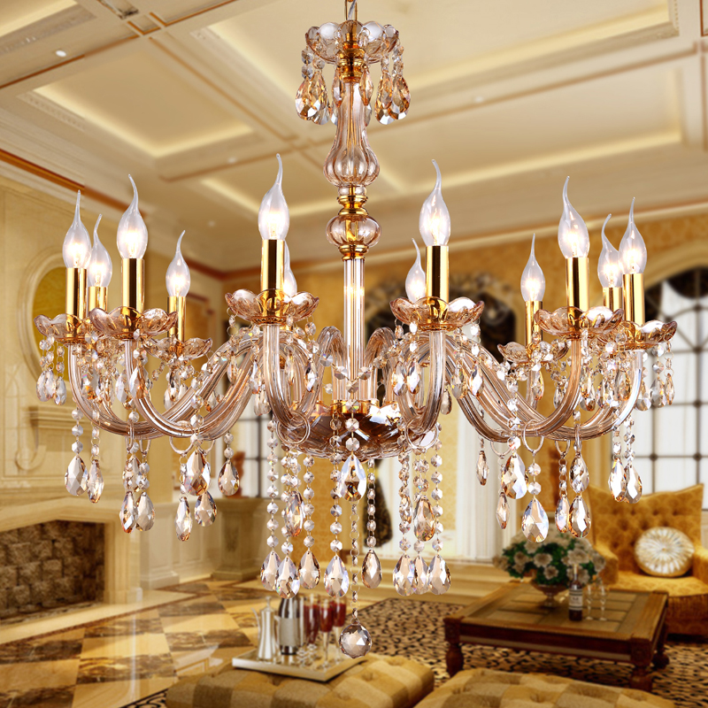 Modern 60 70 90cm Crystal Led Chandeliers Ceiling Lights: Modern Amber Crystal Chandeliers Lighting Hanging Lights