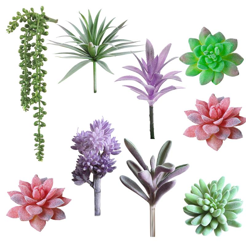 Green Flocking Artificial Succulents Plants Bonsai Desktop Fake Plants Valentine's Day Wedding Decoration Plante Artificielle
