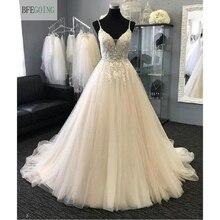 Apliques para vestido de novia de tul con cuentas y cuello en V, tirantes finos, corte en A, longitud hasta el suelo