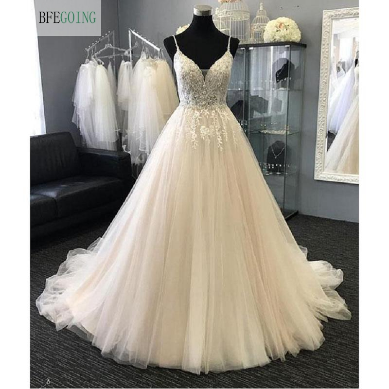Ivory  Lace Appliques Tulle Beading V-Neck  Spaghetti Straps  A-line Floor-Length Wedding Dresses Court Train