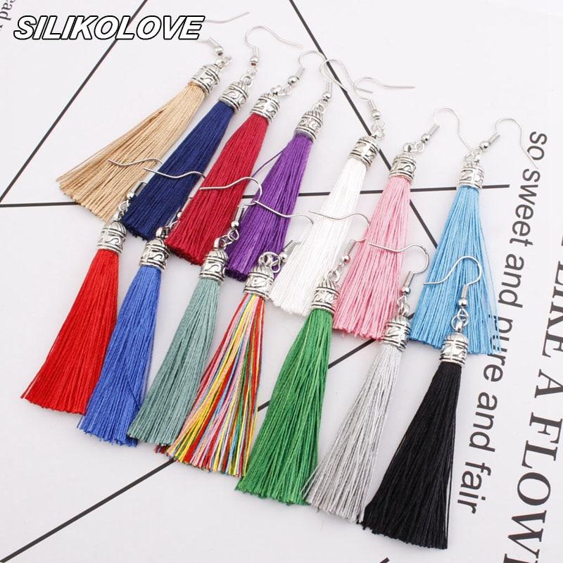 New Geometric Alloy Ethnic Hanging Dangle Drop Earrings For Women Silver Bohemia Vintage Tassel Earrings Kolczyki