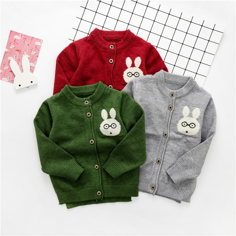 WYNNE GADIS Autumn Baby Boys Cotton Long Sleeve O Neck Cute Rabbit Kids Cardigans Knitwear Sweater Infant Outerwear Coat