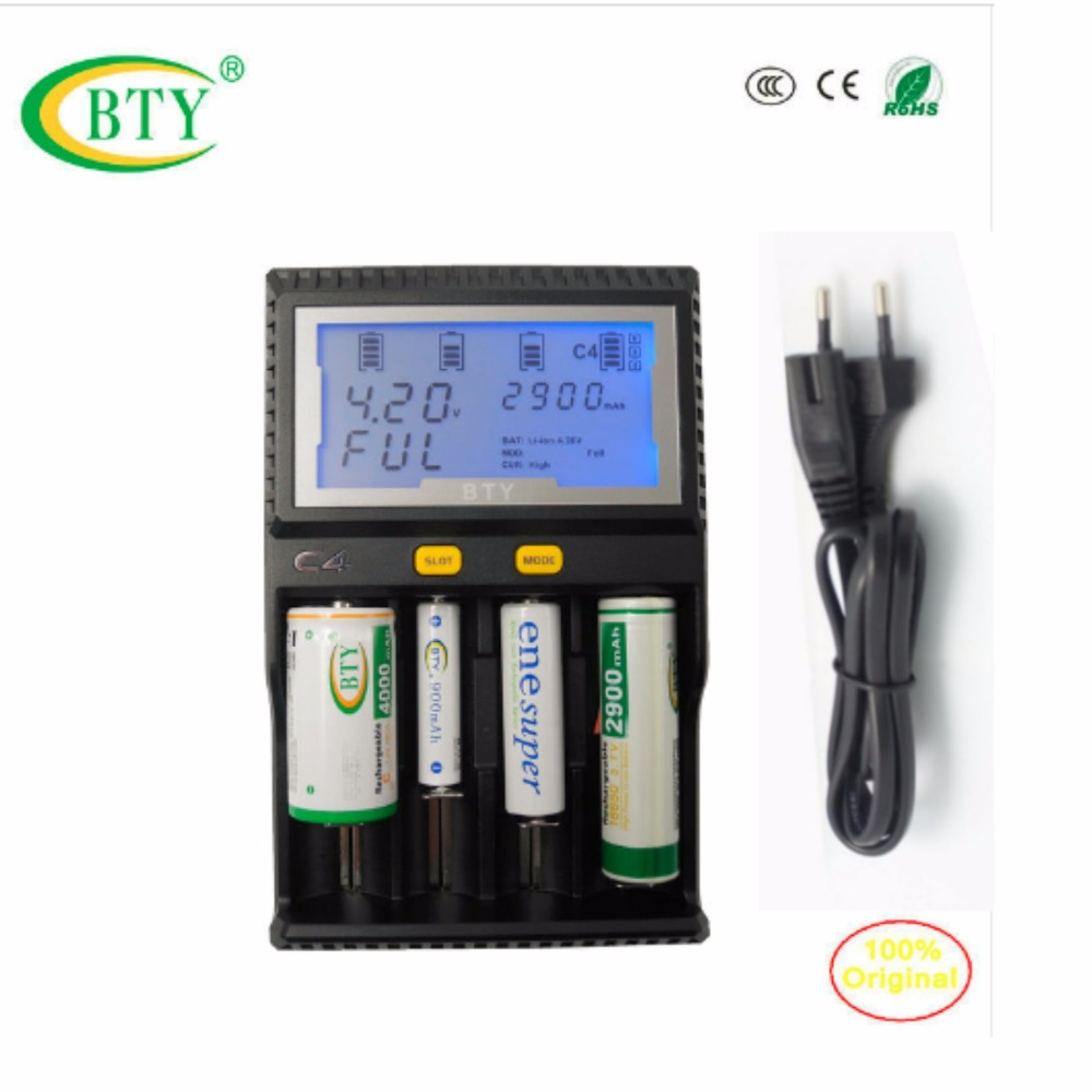 BTY-C4 Smart quick Charger Li-ion Ni-MH Ni-cd AA & AAA 10440 14500 18650 26500 CR123A Battery LCD Capacity Measurement стоимость