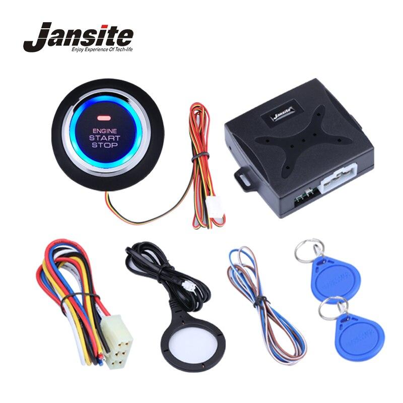 Jansite Car Alarm Engine Push Button Start Stop Button RFID Lock Ignition Switch Keyless Entry System Starter Anti-theft System