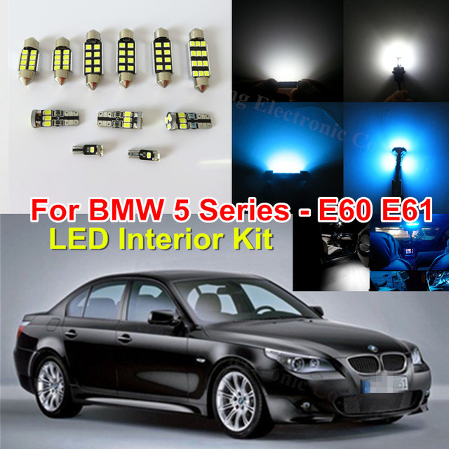 Pure White Ice Blue Canbus No Error Car LED Light Bulb Interior Lighting  Kit For BMW