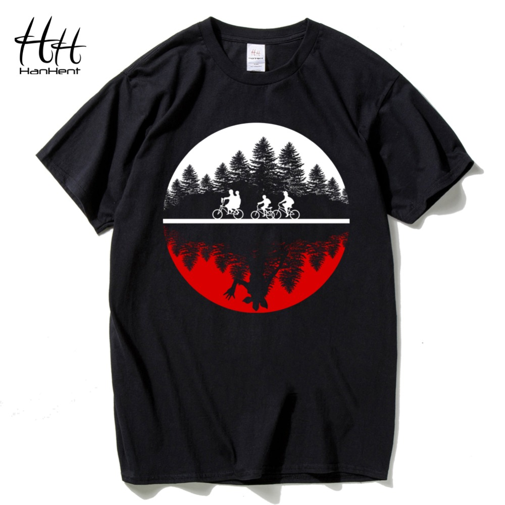 HanHent Funny Design Two-worlds Men's   T  -  shirt   Cotton Round Tee   shirt   Hip Hop Streetwear Stranger Things   T     shirt   Male Wholesale