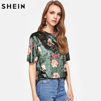 SHEIN Flower Print Velvet T Shirt Green Floral T Shirts Women 2017 Summer Crew Neck Short