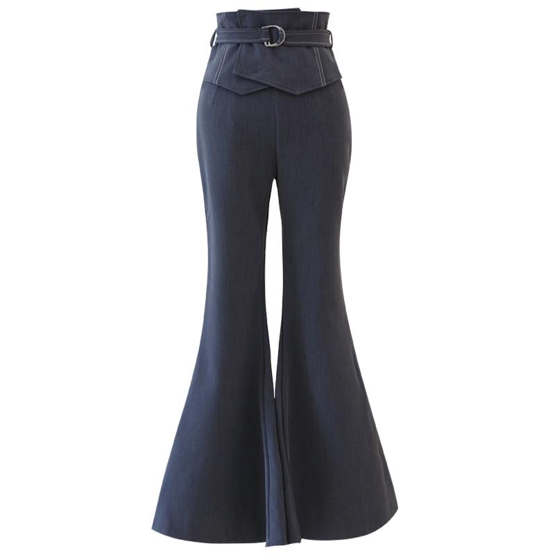 L Algodón M 1 Tamaño Trabajo 2 Negro Femenino Ancha S Pantalones Campana Pierna Delgada Alta Larga Cintura Más Slim Mujeres Oficina tIFw1xIq